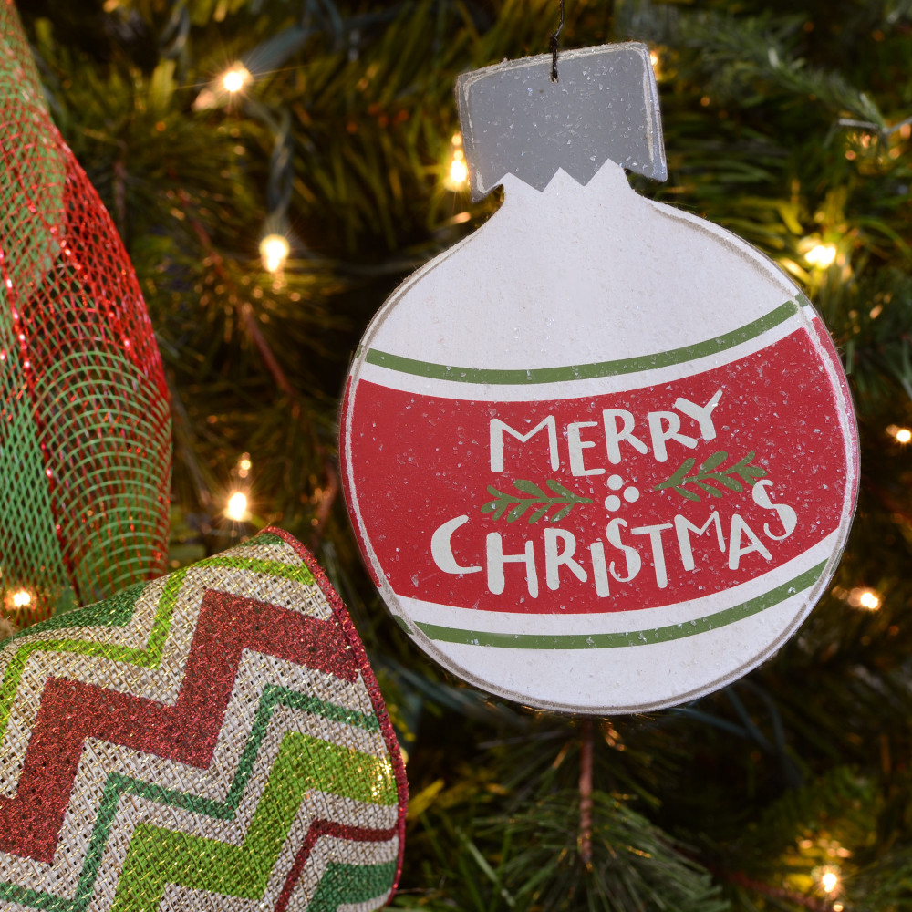 """Merry Christmas Ornaments: Merry Christmas Wooden Ball Ornament Sign (5"""" By 6"""
