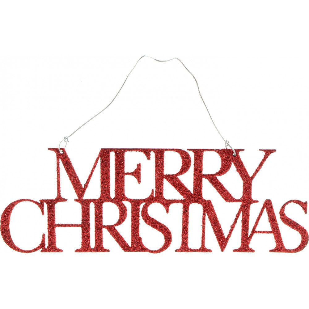 Glittered Words Ornament: Red Merry Christmas [8671