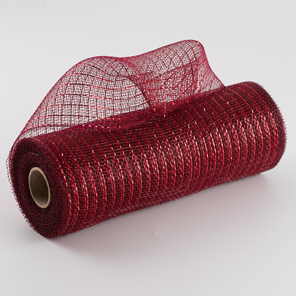 10 Poly Deco Mesh Metallic Burgundy Red Re130161 Craftoutlet Com
