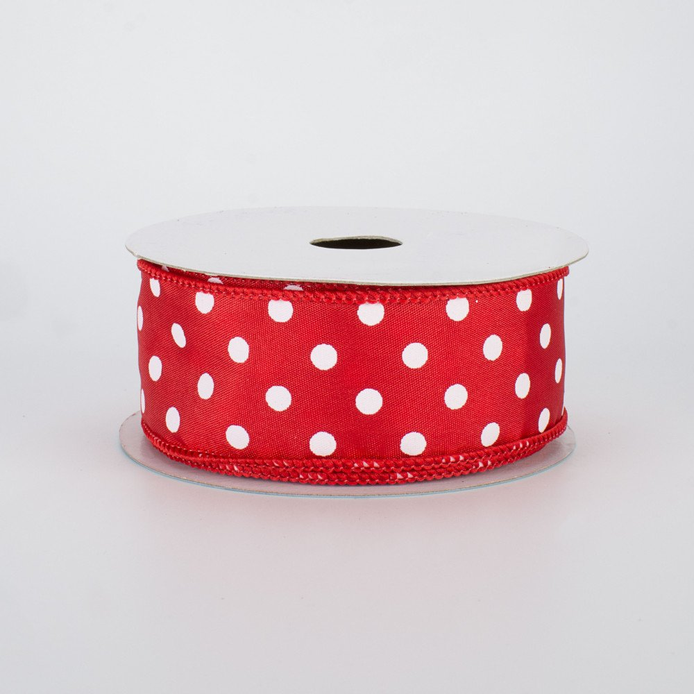 Red with White Polka Dots Sheer Wired Ribbon 2 12 Wide x 25 Yards