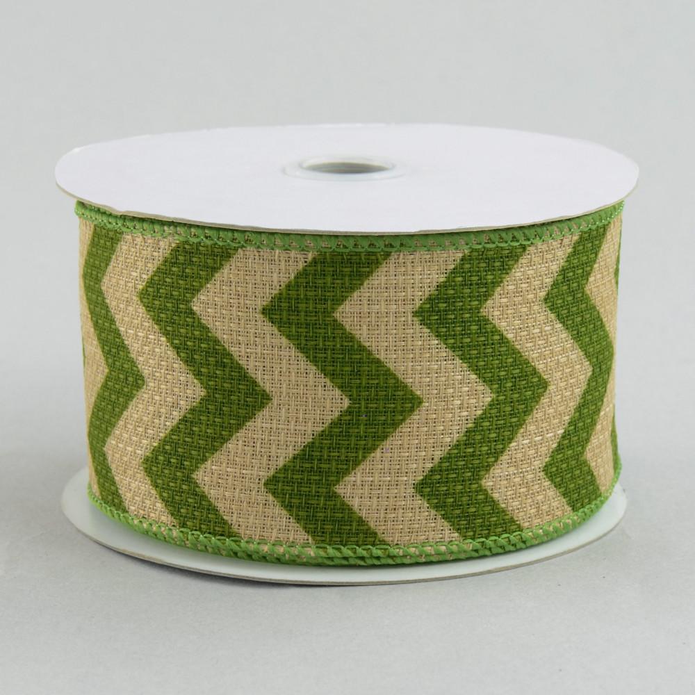 2 5 faux burlap chevron ribbon moss green 10 yards for Green burlap ribbon
