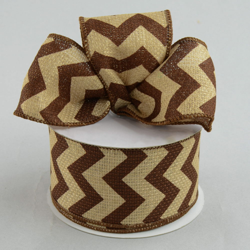 2 5 Quot Faux Burlap Chevron Ribbon Chocolate Brown 10 Yards