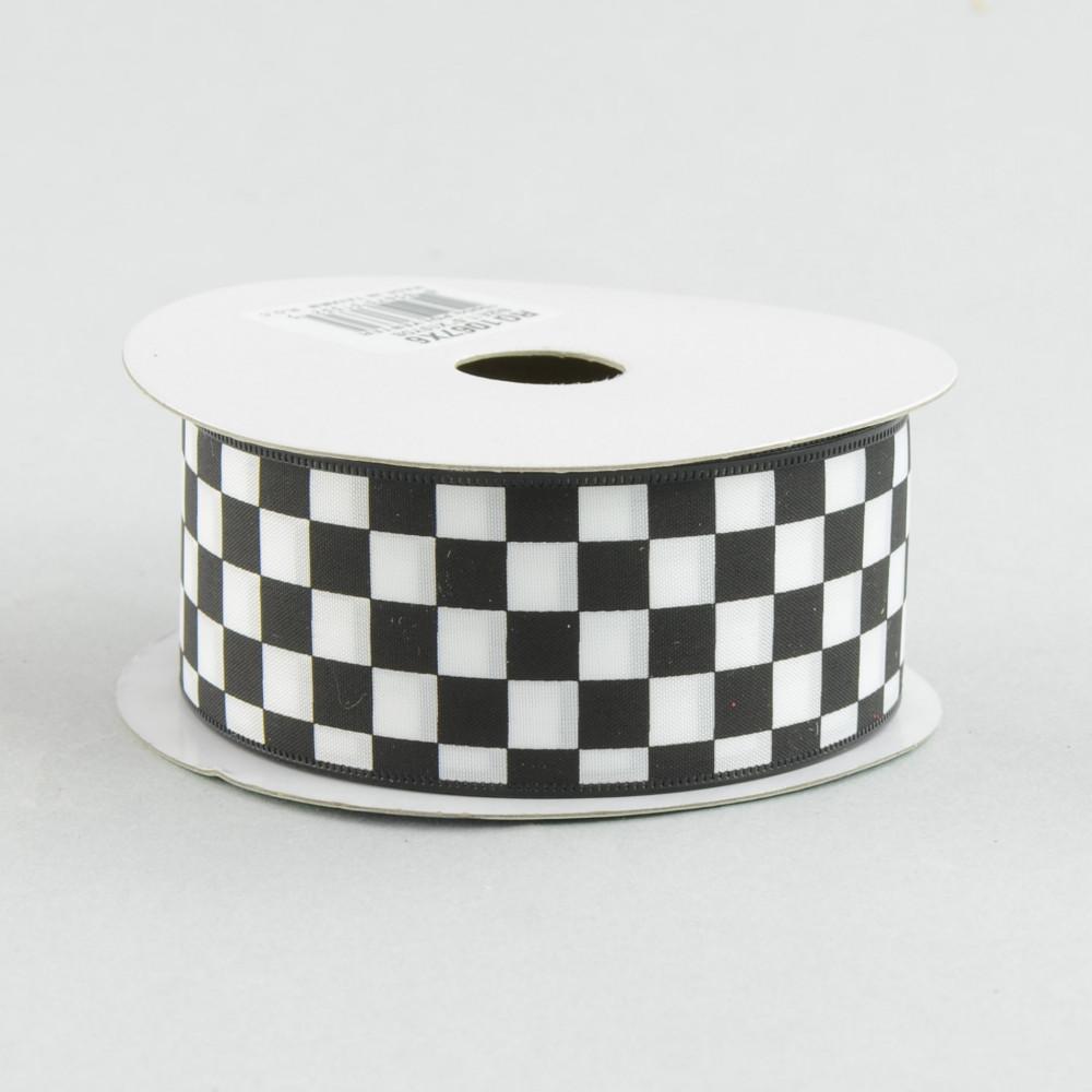 1 5 Black And White Check Ribbon 10 Yards Rg1067x6