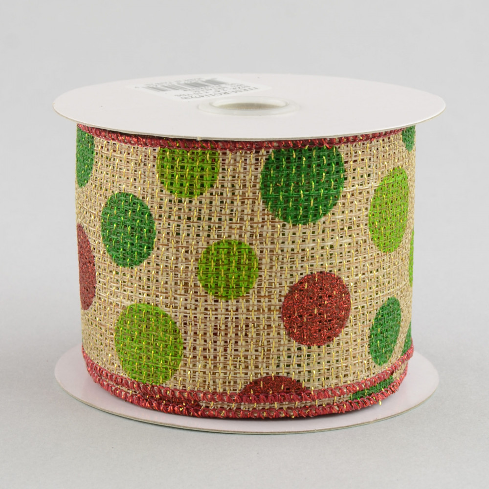 25 faux burlap christmas polka dot ribbon - Burlap Christmas Ribbon