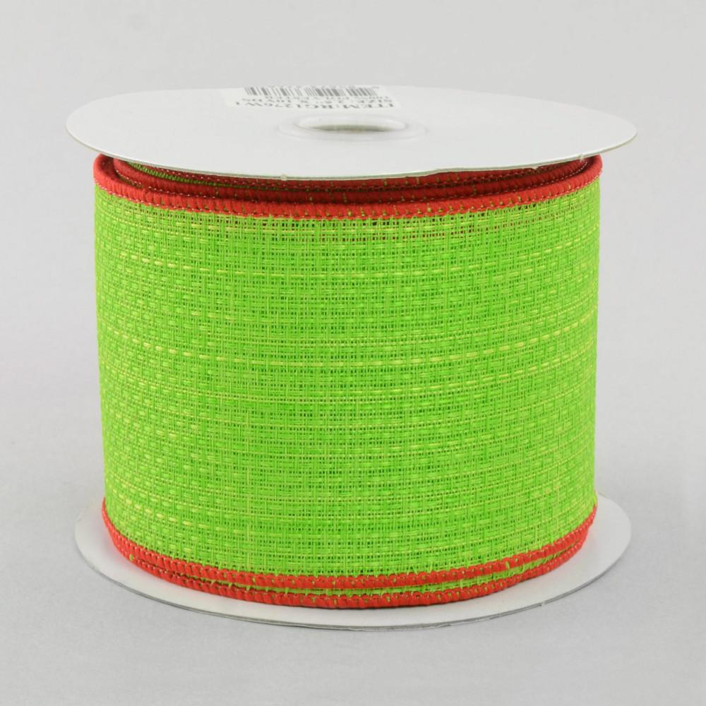 2 5 royal faux burlap ribbon lime green red 10 yards for Green burlap ribbon