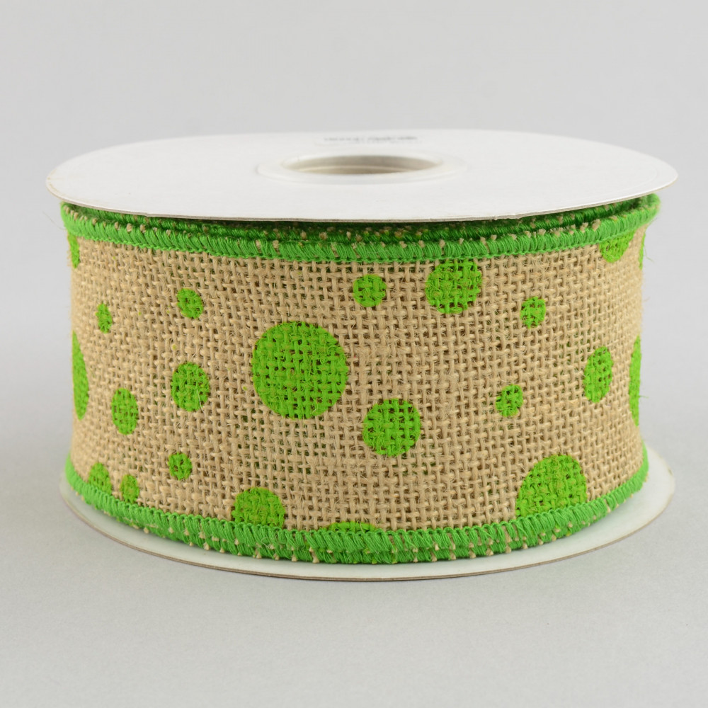 2 5 burlap polka dot ribbon lime green 10 yards for Green burlap ribbon