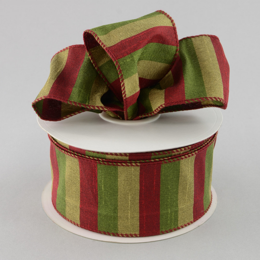 "2.5"" Dupioni Cranberry Sage Stripe Ribbon (25 Yards"