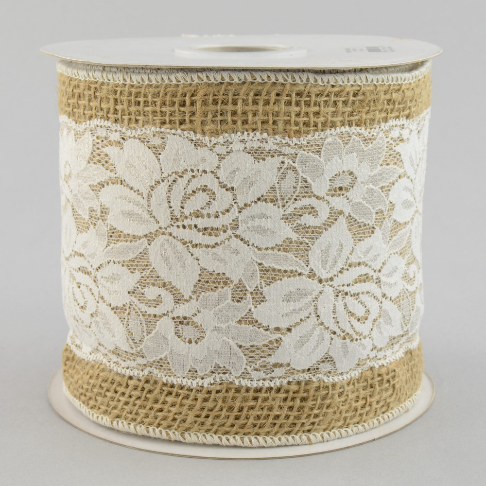 4 Inch Natural Burlap With White Lace Overlay Ribbon