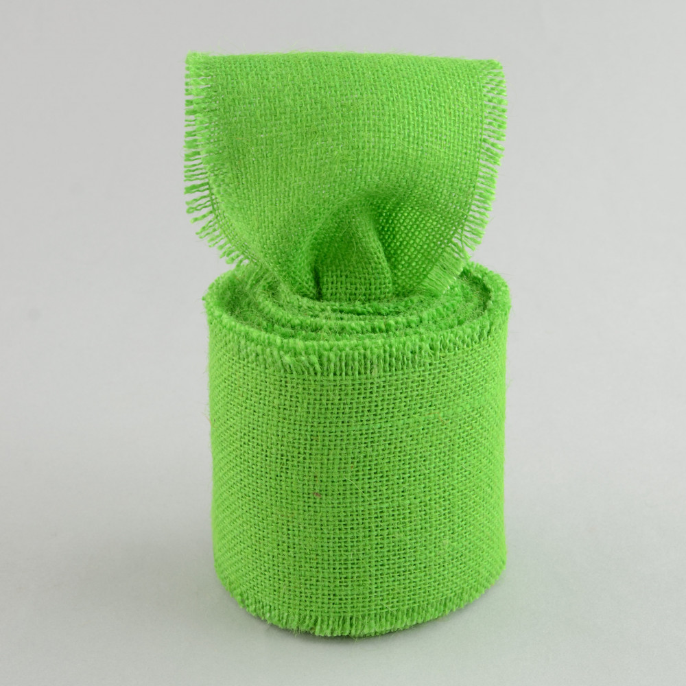 4 Quot Burlap Ribbon With Fringe Edge Apple Green 10 Yards