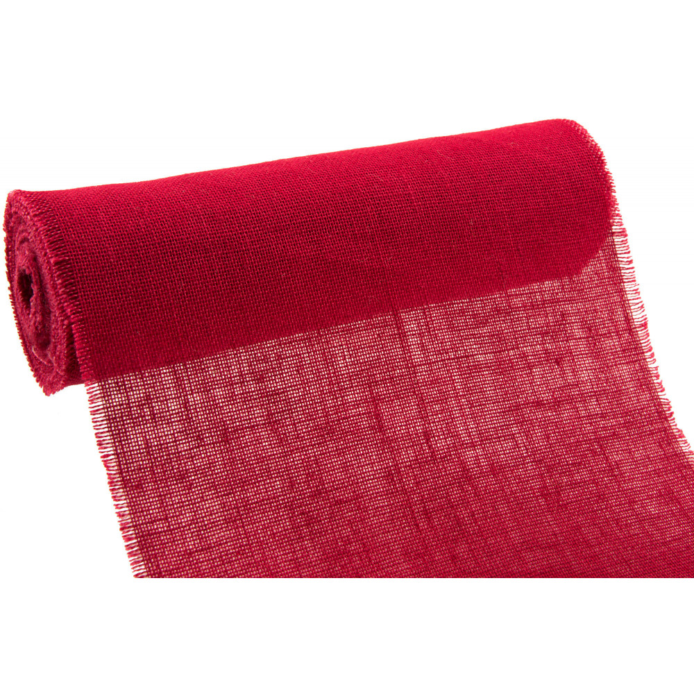 14 Quot Burlap Fabric Roll With Fringed Edge Red 10 Yards
