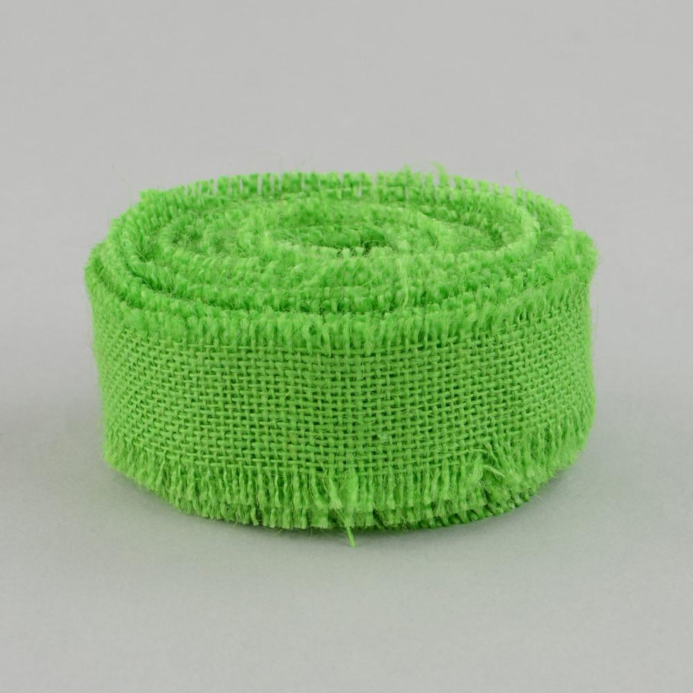 1 5 burlap ribbon with fringe edge apple green 10 yards for Green burlap ribbon