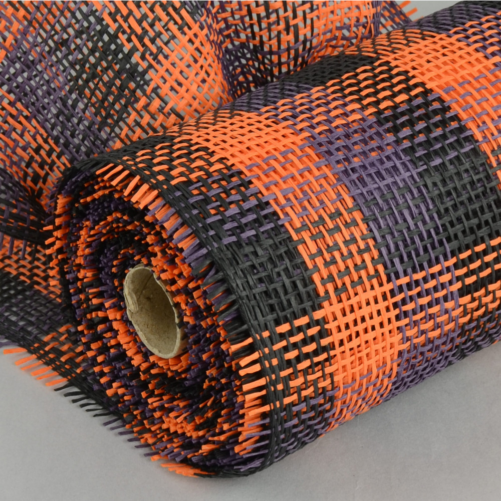 10 Quot Paper Mesh Roll Orange Black Purple Plaid 10 Yards