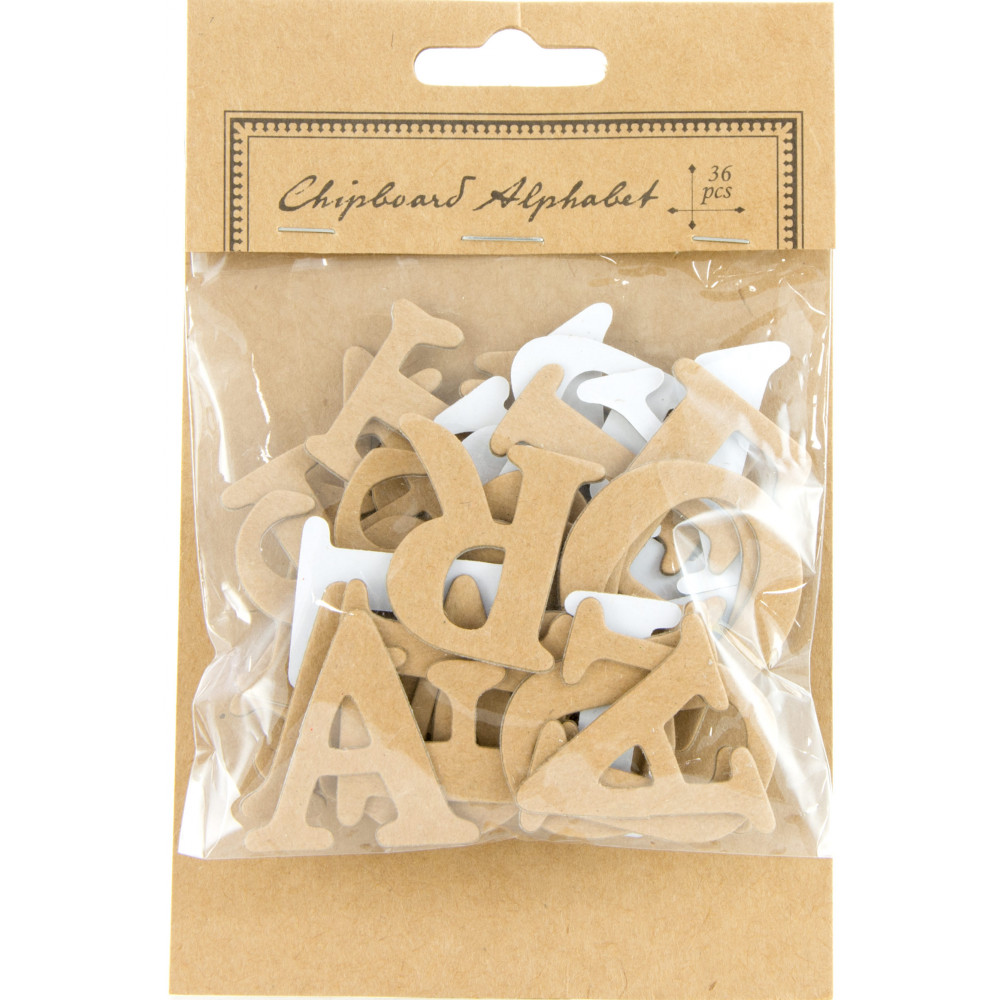 Natural chipboard letter stickers 15quot 36 pcs s j8577 for Where to buy chipboard letters