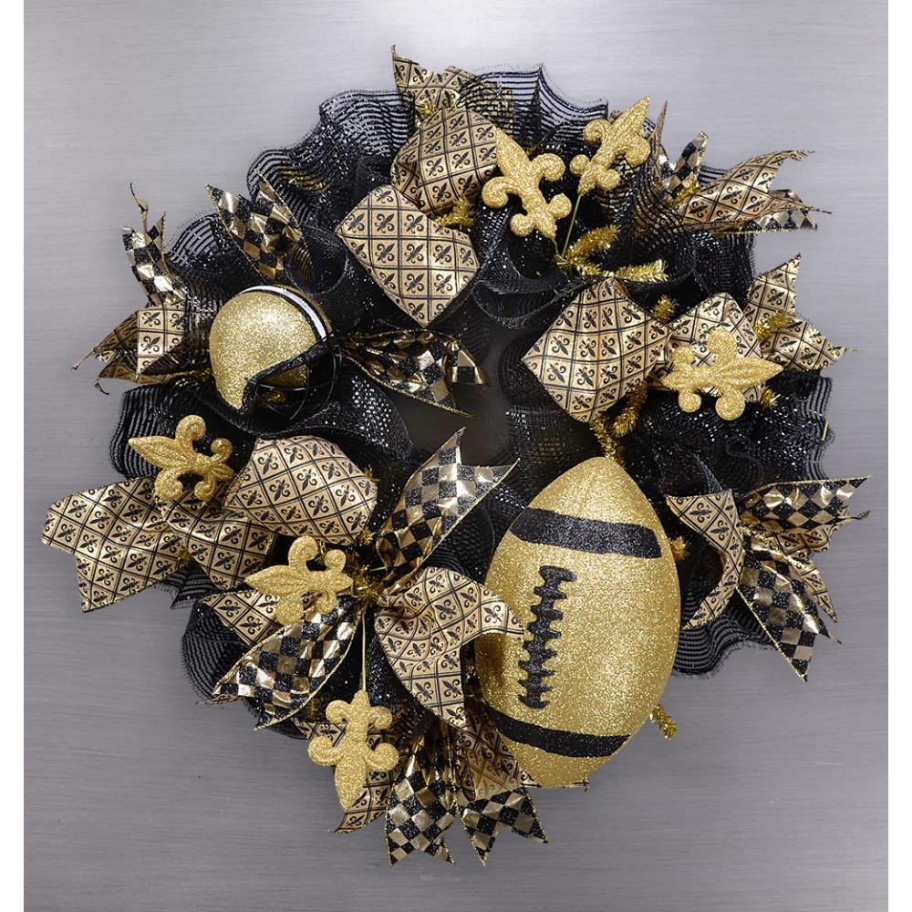 Black And Gold Fleur De Lis Wreath Kit Craftoutlet Com