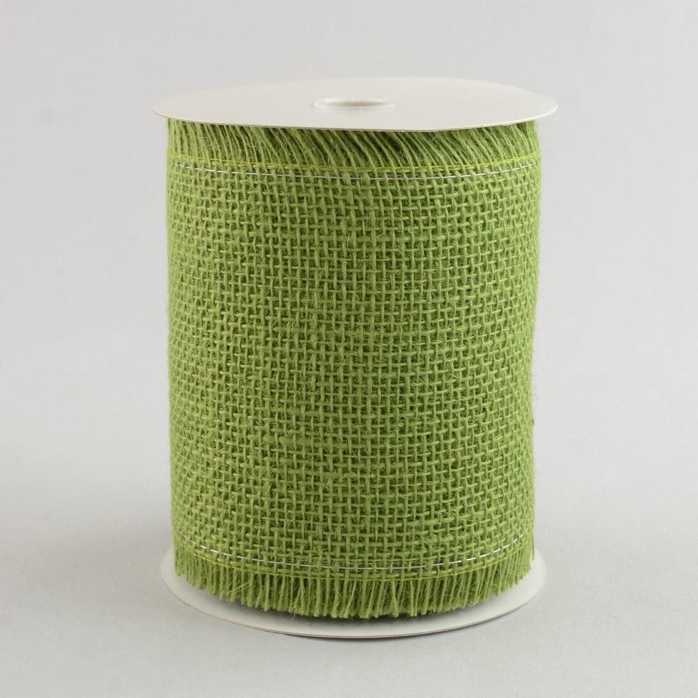 5 5 frayed edge wired burlap ribbon moss green 10 yards for Green burlap ribbon