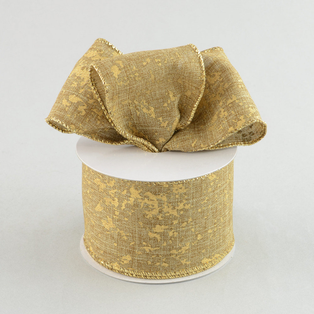 "2.5"" Natural Canvas Ribbon With Gold Splatters (10 Yards ..."