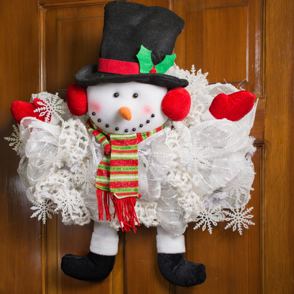 Plush Snowman With Scarf Wreath Accent Xc9902 Craftoutlet Com