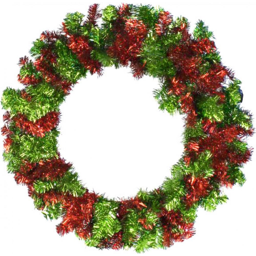 Quot tinsel wreath red lime green xx