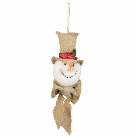 12 burlap snowman ornament 253992