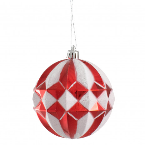 100mm Stripe Diamond Ornament Red White Xy8375y5 Craftoutlet Com
