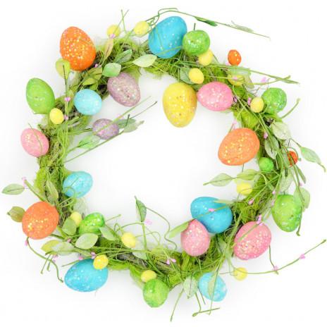 """20"""" Bright Glittered Easter Egg Wreath"""