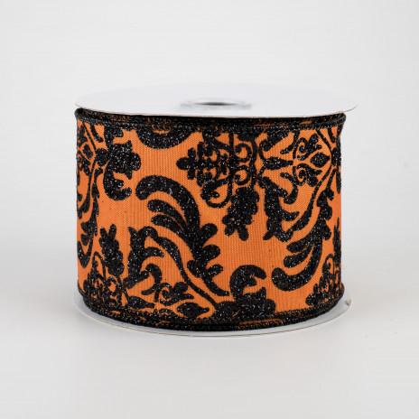Orange Black Damask Wired Ribbon By the Roll 2.5 x 10 YARD ROLL RGB1325TC