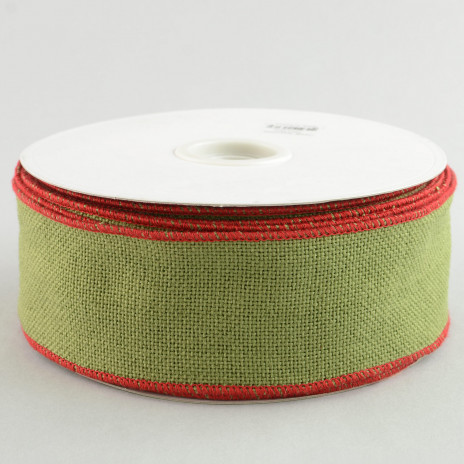 2 5 faux burlap ribbon moss green with red trim 25 for Green burlap ribbon