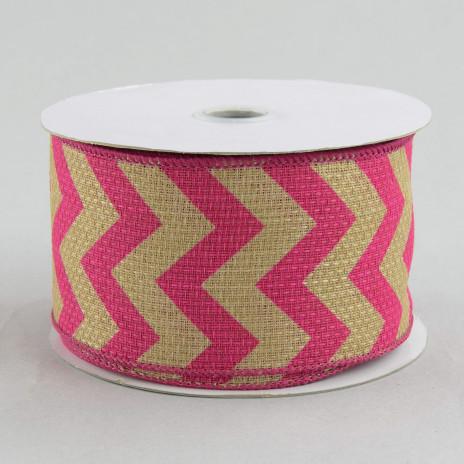 burlap ribbon chevron  natural pink yards