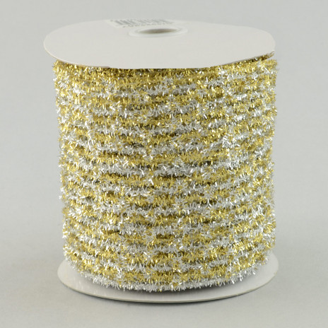 "4"" Gold/Silver Fringed Netting Ribbon (10 Yards)"