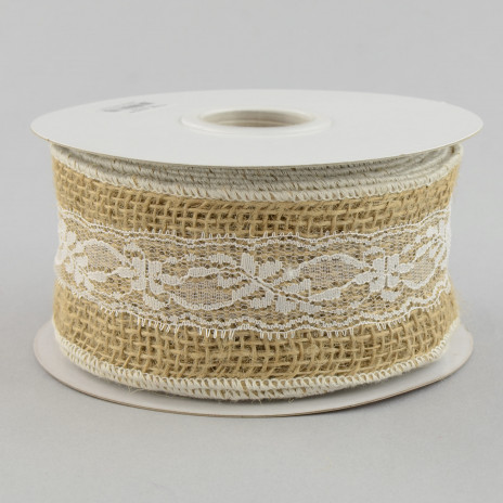 2.5 Inch Natural Burlap and White Lace Ribbon
