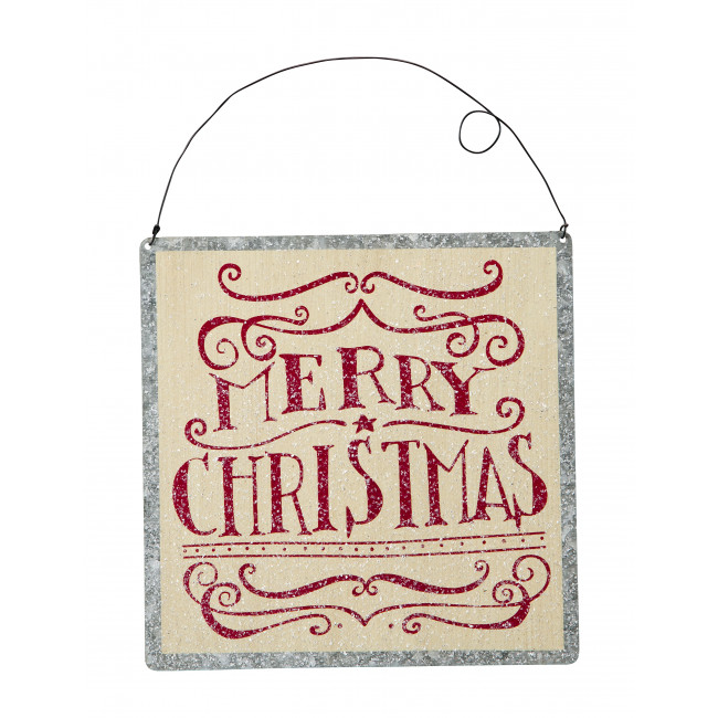 Merry christmas square metal hanging sign quot by