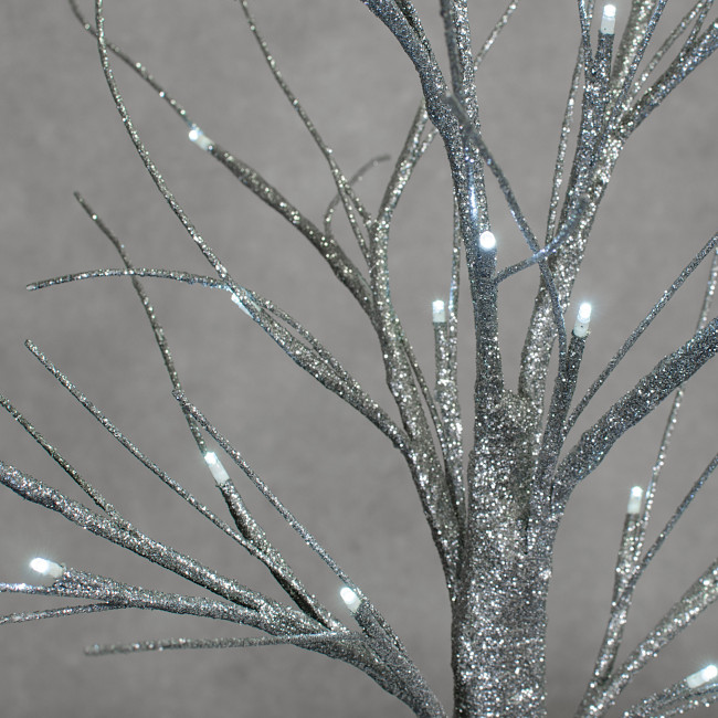 24 Quot Led Glitter Wired Tree Centerpiece Silver Llt003