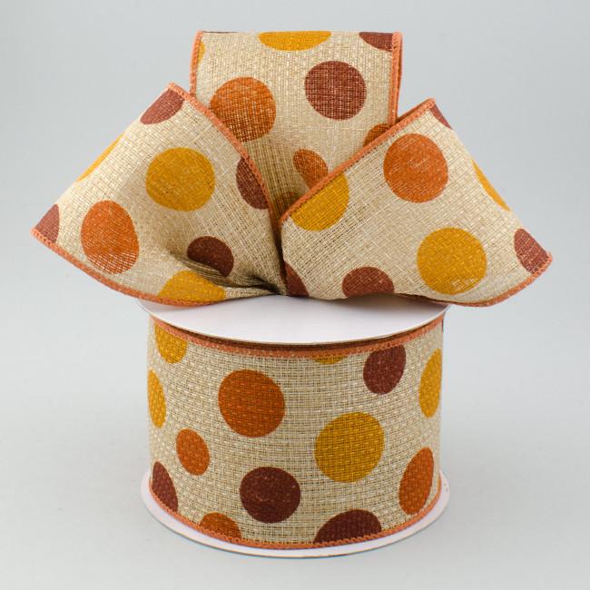 2 5 Quot Faux Burlap Halloween Polka Dots Brown Orange
