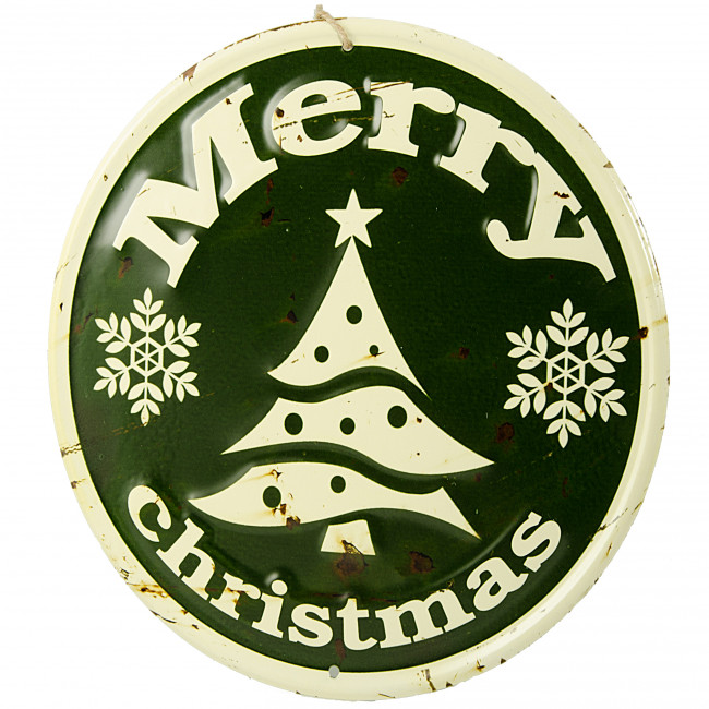 Quot retro round metal sign green merry christmas