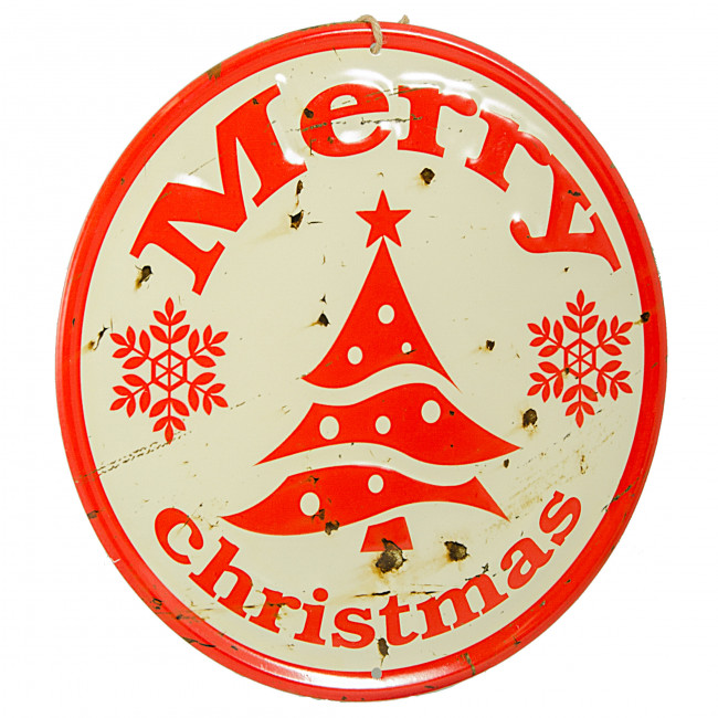 Quot retro round metal sign ivory merry christmas