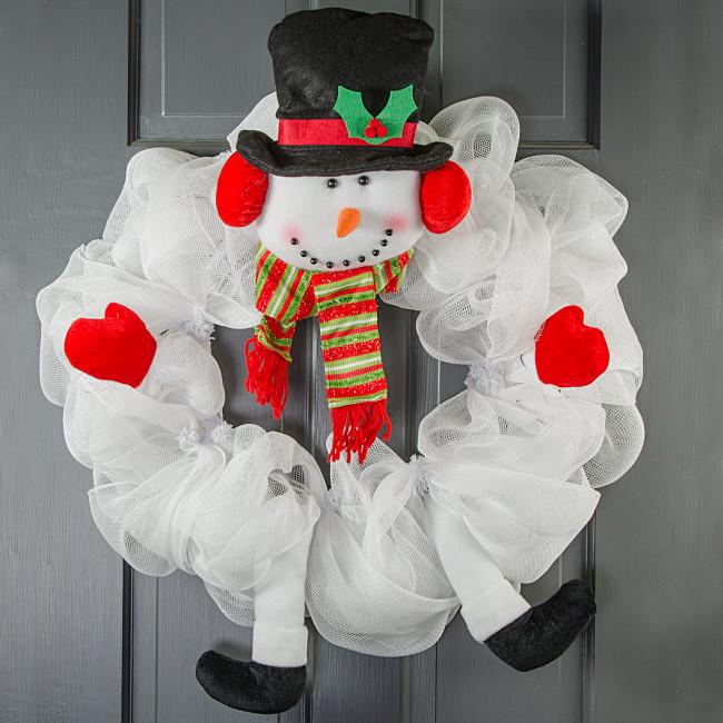 Plush Snowman Wreath Decor Kit 5 Pieces Xc9902
