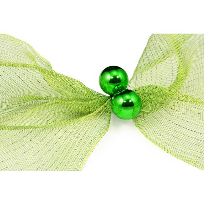 Quot green tinsel ties w mm balls set of