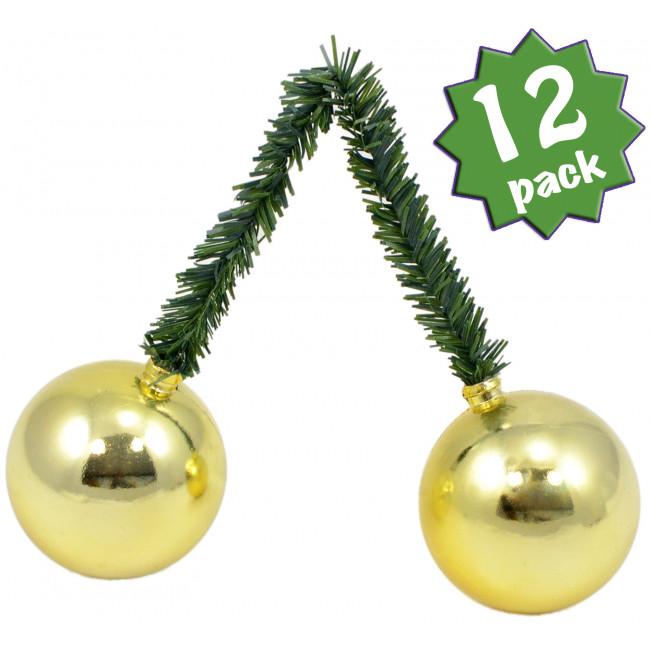 Quot green tinsel ties w mm balls gold set of