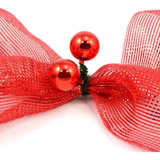 Quot green tinsel ties w mm balls red set of
