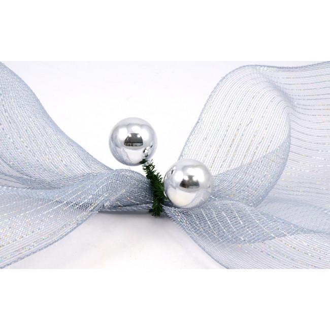 Quot green tinsel ties w mm balls silver set of