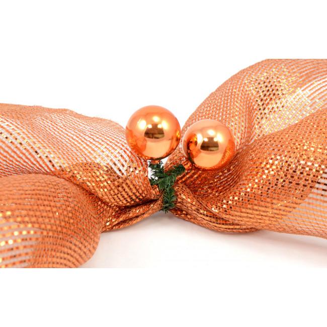 Quot green tinsel ties w mm balls copper set of