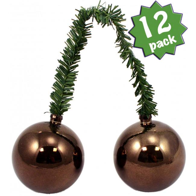 Quot green tinsel ties w mm balls brown set of