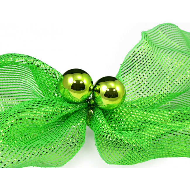 Quot lime tinsel ties w mm balls set of