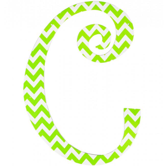 "14"" Lime Green Chevron Metal Letter: C [1756 ..."