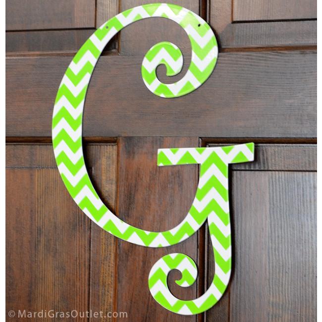 14 lime green chevron metal letter g 1760. Black Bedroom Furniture Sets. Home Design Ideas