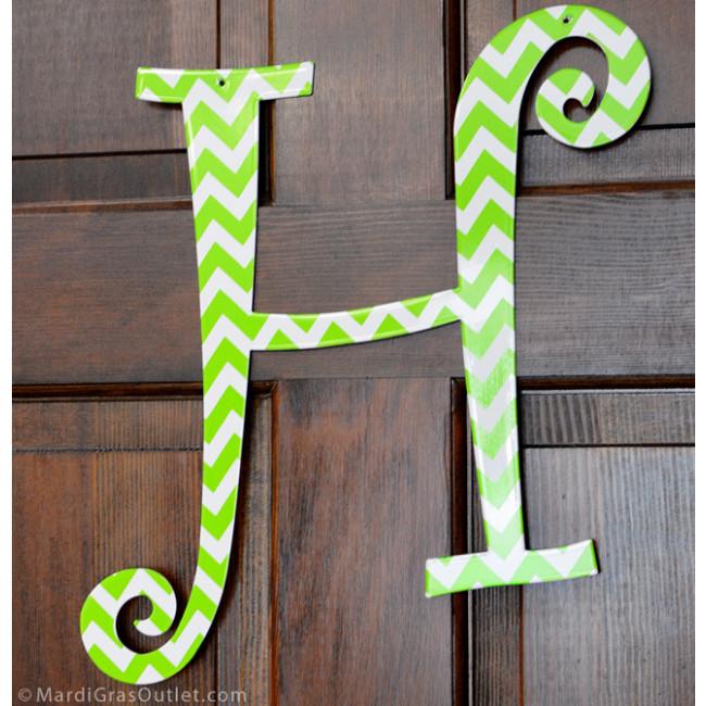 14 lime green chevron metal letter h 1761. Black Bedroom Furniture Sets. Home Design Ideas