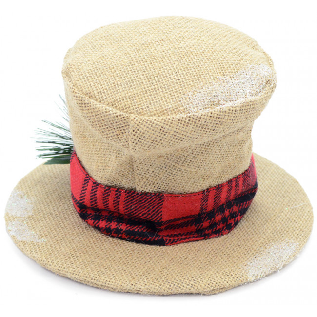 Burlap Christmas Holly Top Hat Decoration: 6.5