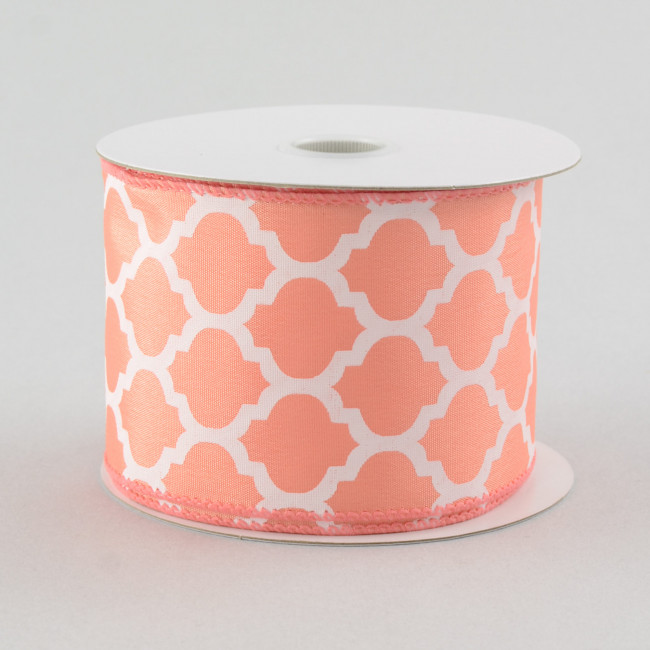 "2.5"" Satin Quatrefoil Lattice Ribbon: Coral (10 Yards"