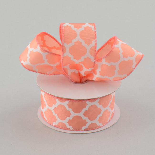 "1.5"" Satin Quatrefoil Lattice Ribbon: Coral & White (10"
