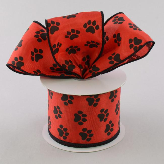 2 5 Quot Satin Paw Print Ribbon Black Amp Red 10 Yards